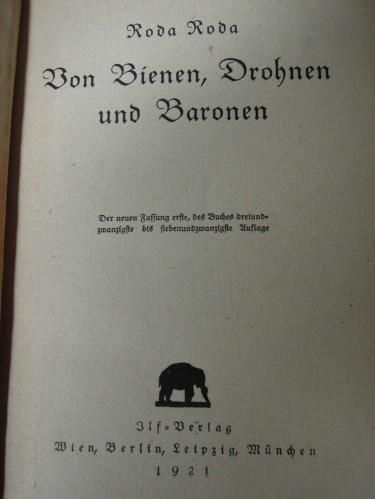 Roda Roda Von Bienen Drohnen und Baronen 1921 buch.hu