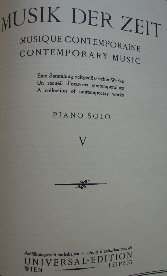 Musik Der Zeit Universal-Edition No 9520 Piano Solo
