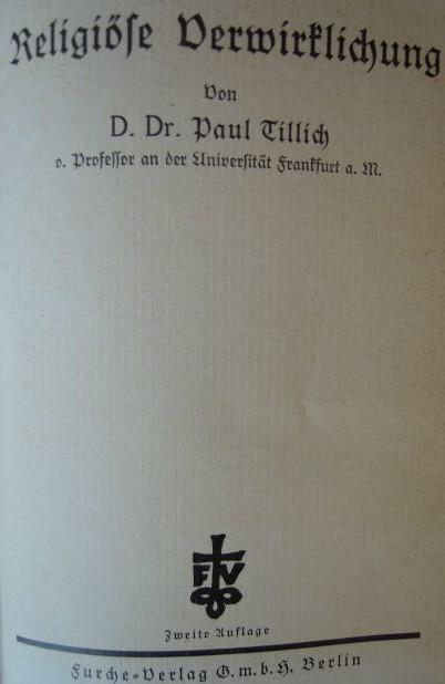 Religiőse Verwirklichhung Paul Tillich