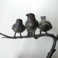 Drei Vögel Wilhelm K. Robra Bronze Statue
