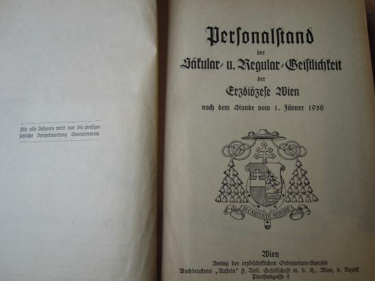Personalstand der Säkular- und Regular- Geistlichkeit der Erzdiözese Wien