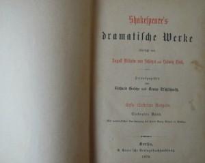 Schakespeare's Dramatische Werke Erste illustrirte Ausgabe  1874