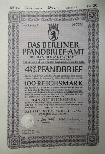 Berliner 4.5 % Pfandbrief 100 Reichsmark 1940