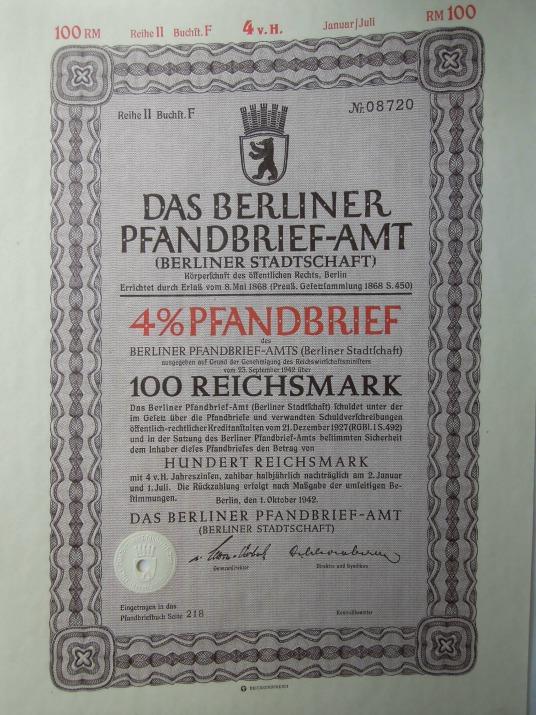 Berliner Pfandbrief 100 Reichsmark 1942