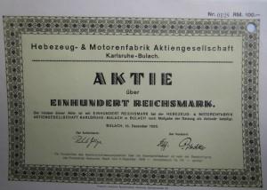 Hebezeug und Motorenfabrik Aktie 100 Reichsmark 1926