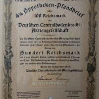 Hypotheken Pfandbrief 100 Reichsmark 1940