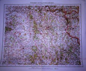 Champagne und Französich Lothringen 1937 Karte map