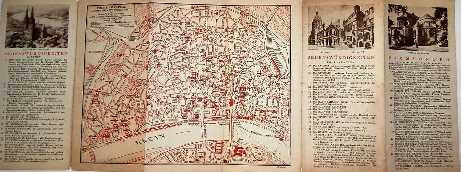 Köln Karte Cologne map  cca1931