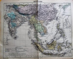 Ostindien Karte/map Stielers Schul-Atlas cca 1900