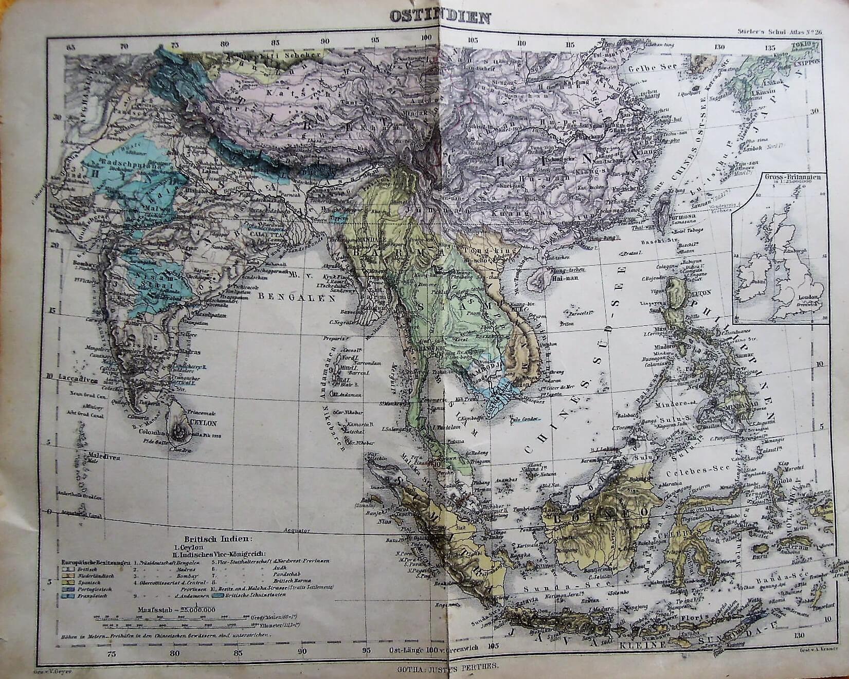 Ostindien Karte/map Stielers Schul-Atlas cca 1900