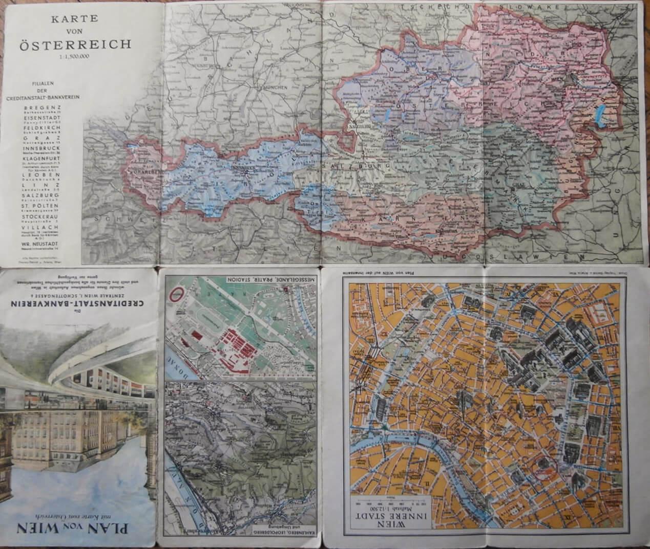 Plan von Wien Karte von Österreich 1963 Austria Wien map