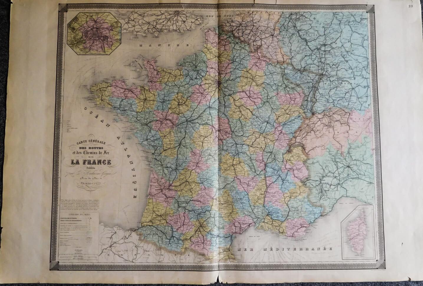 Carte Générale des Routes La France 1873 France map Karte