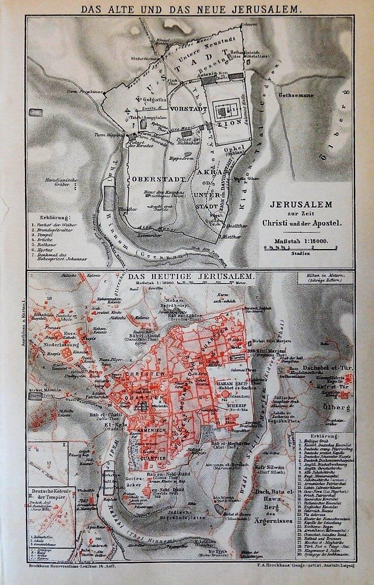 Jerusalem Karte Plan map  1894 Brockhaus Konversations Lexikon 14. Auflage Leipzig