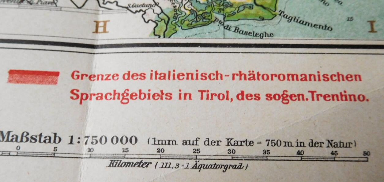 Südtirol und Venetien Karte Plan map I. Weltkrieg World War