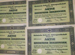 Sachsische Zellwolle Aktie 1937 1000 Reichsmark
