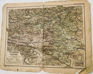 Steiermark und Karnten Kozenn's Schul Atlas Karte Plan map