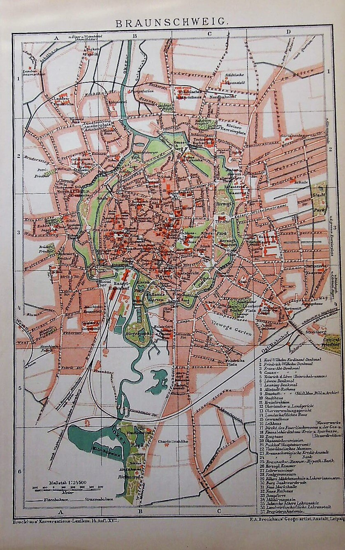 Braunsweig Karte Plan map  1894 Brockhaus Konversations Lexikon 14. Auflage Leipzig
