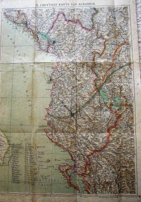 Karte von Albanien Albania map 1928