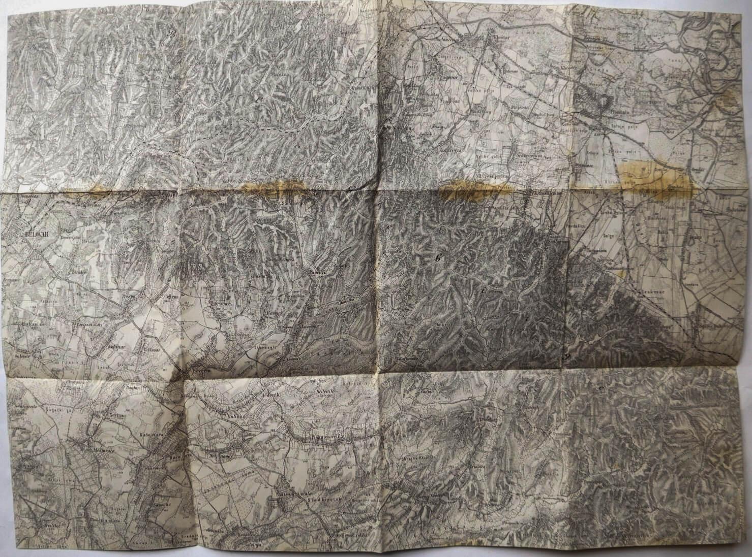 Croatia Kroatien Bjelovar and surroundings military map cca 1930