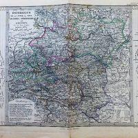Österreich Salzburg Steiermark Karnthen Karte Austria map carte Stieler's Schul Atlas