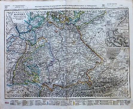 Bayern Würtenberg beyde Hohenzollern und Baden Karte map