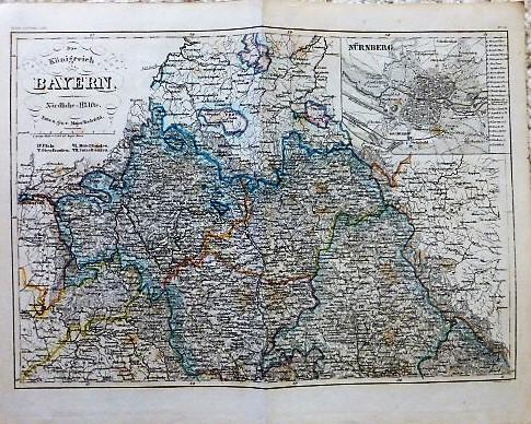 Das Königreich Bayern Nördliche=Halfte Karte map