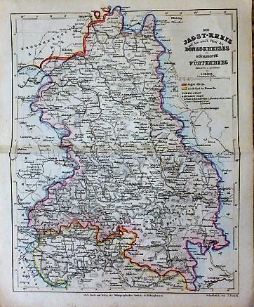 Der Jagst-Kreis Donau-Kreises vom Königreiche Würtemberg Karte map