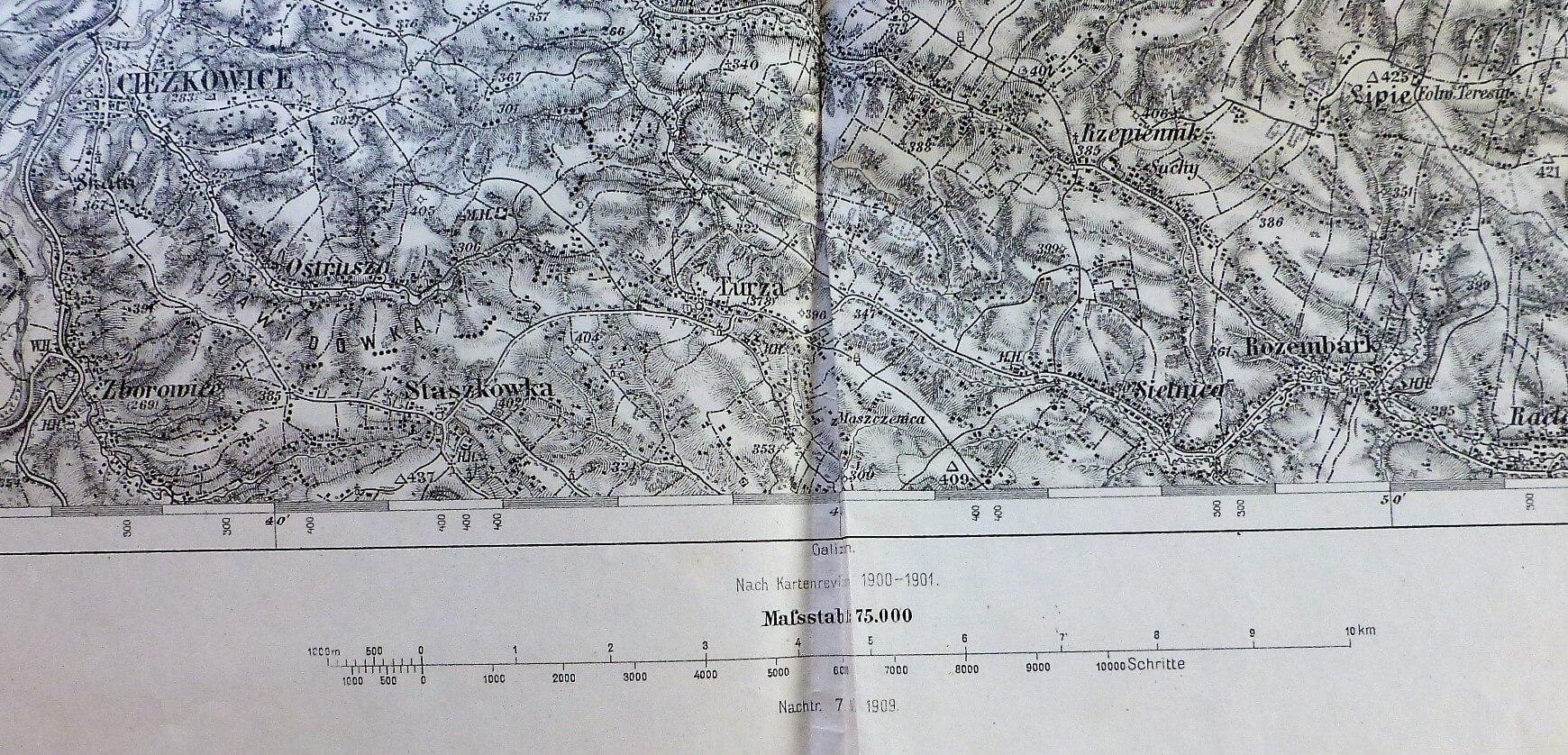 Pilzno Ciezkowice Tuchow Poland military map Karte Plan 1909 Polska mapa
