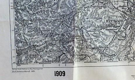 Rzeszów Lancut Sokolow Poland military map Karte Plan 1909 Polska mapa