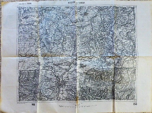Rzeszów Lancut Sokolow Poland military map Karte Plan 1909 Polska mapa