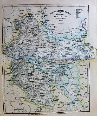 Der Schwarzwald Kreis vom Königreich Würtemberg Karte map