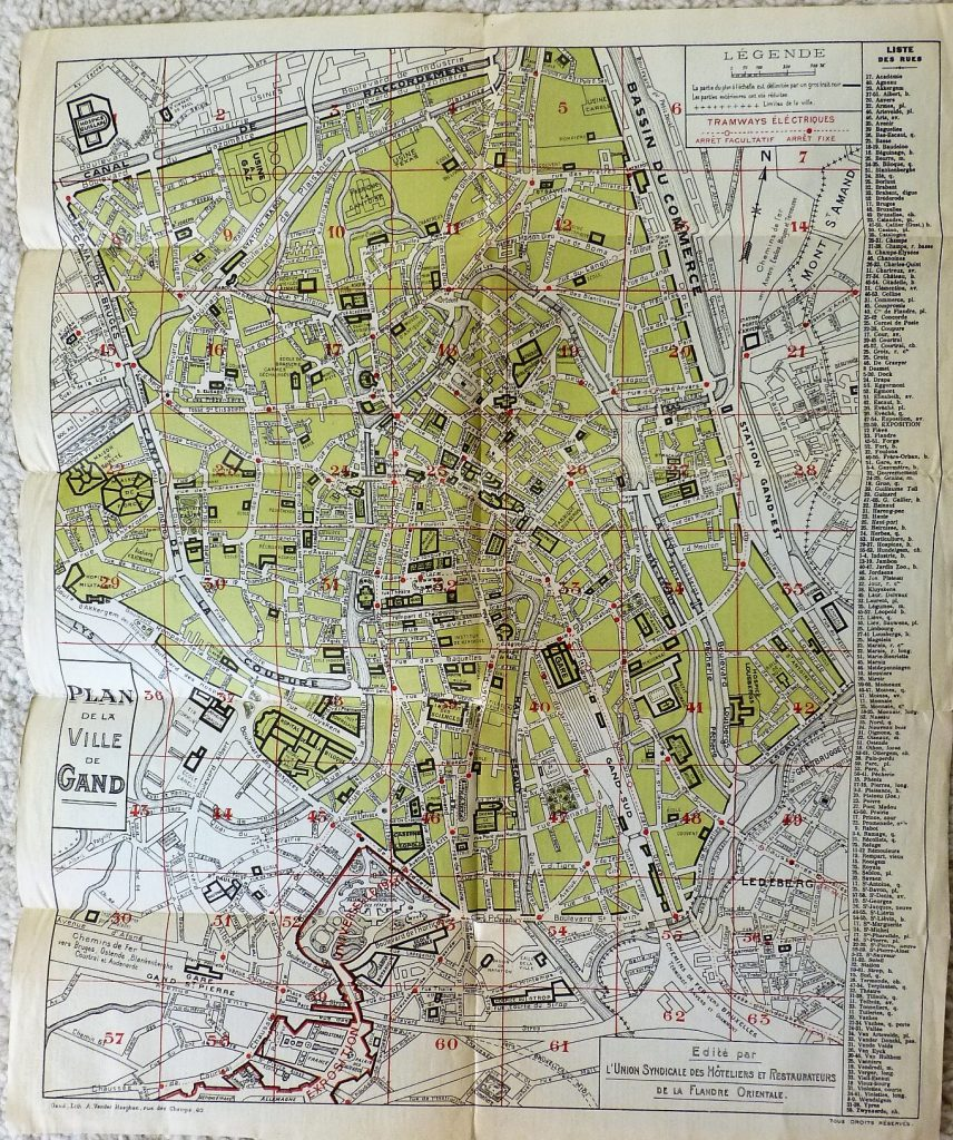 Gent Belgie Belgium map plan carte 1930