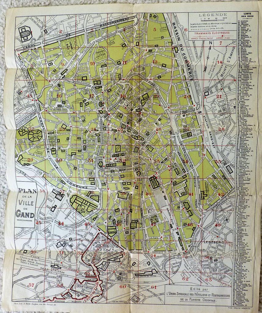 Gent Belgie Belgium map plan carte 1930