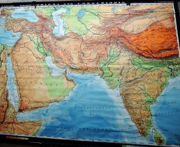 Middle East MEA Arabian gulf Saudi Arabia India german old map