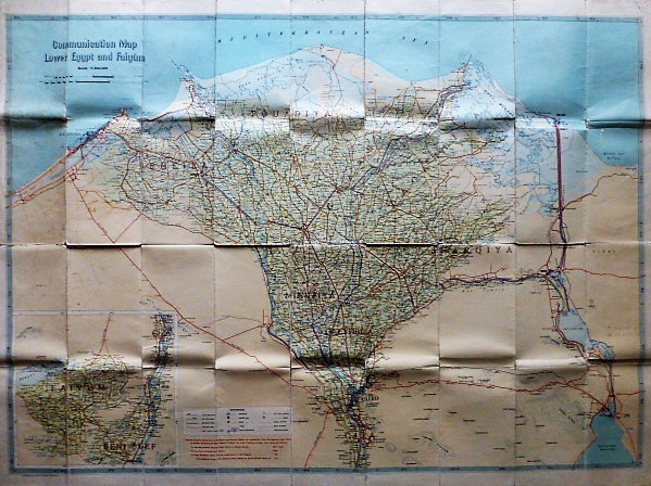 Communication map Lower Egypt and Faiyum Suez Canal 1950