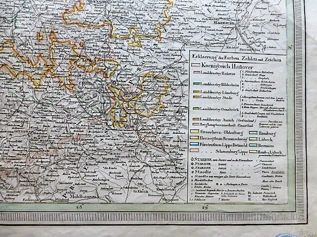 Das Königreich Hannover Stadtplan 1845 Weiland map