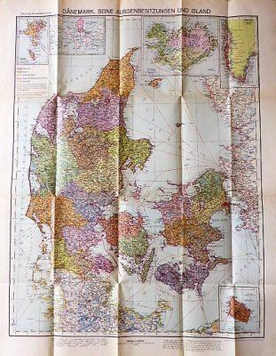 Map of Denmark 1919 Danemark Flemmings Generalkarten