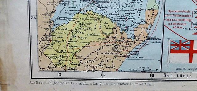 Politish-militarische Karte von Süd-Afrika South Africa military political map 1899