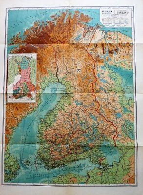 Suomen Kasikartta map of Finland Handkarta over Finland 1930