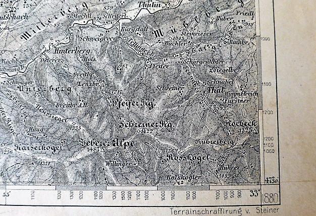 Topographische Karte Zone 15 col. XII. Eisenerz, Wildalpe und Aflenz Hochschwab 1880
