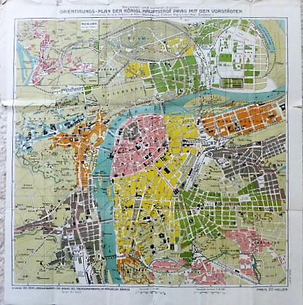 Orientungs Plan Der Königl.Haupstadt Prag Mit Den Vorstanden