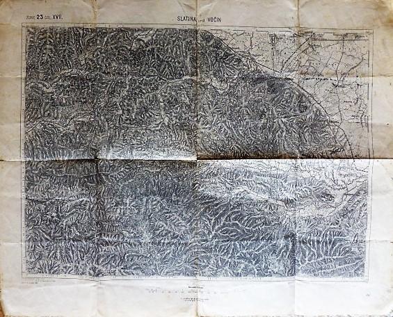 Slatina und Vocin Kroatien 1900 Kreigkarte Zone 23 COL XVII