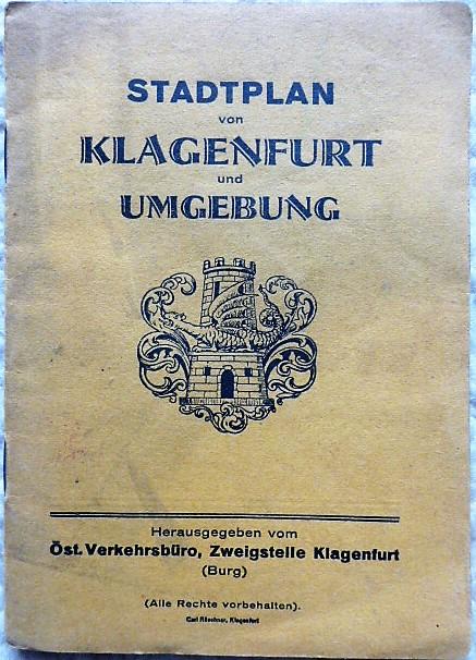 Stadtplan von Klagenfurt und Umgebung Öst.Verkehrsbüro cca 1928