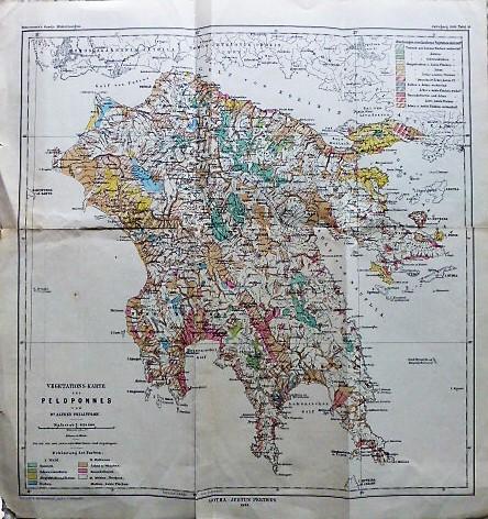 Peloponnes Karte.Vegetation S Karte Des Peloponnes 1895 B U C H
