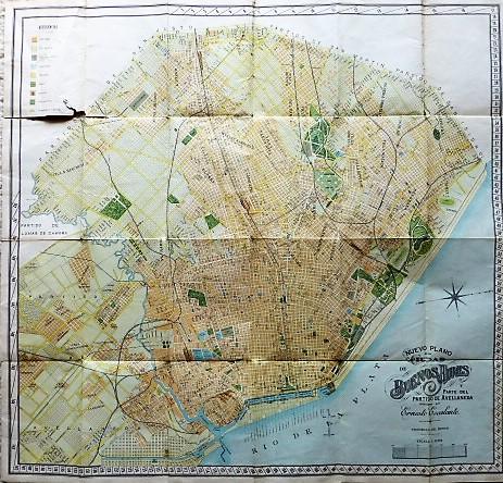 Nuevo plano dela Ciudad de Buenos Aires y Parte del Partido De Avellaneda 1912 map