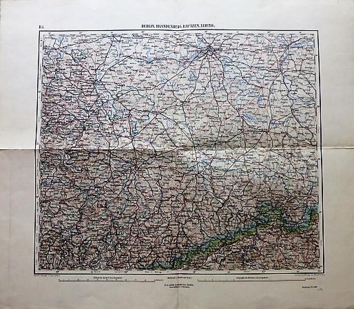 Berlin Brandenburg Bautzen Leipzig Dresden Landkarte Deutschland Germany map 1898