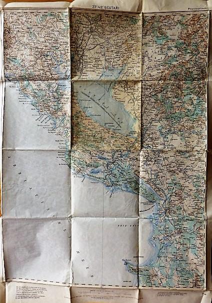 Skadarsko Jezero Podgorica Montenegro Albania map Landkarte 1915