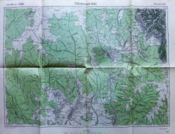 Culoarul Rucăr-Bran Törzburger Pasz Romania old map 1916