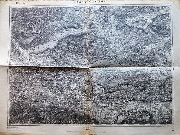 Klagenfurt und Villach Umgebung Landkarte Österreich 1914 map