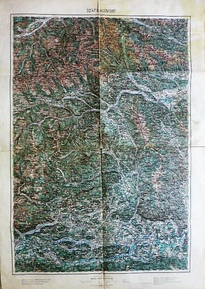 Murau Villach Klagenfurt Umgebung Landkarte map 1894